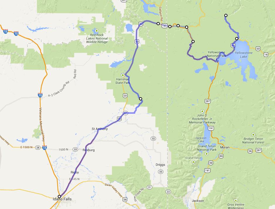 Day 1 - Idaho Falls to Canyon Village