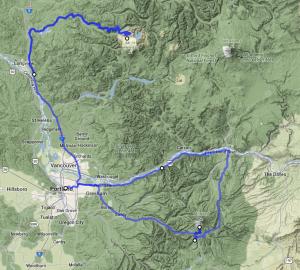 Mt Hood to Mt St Helens