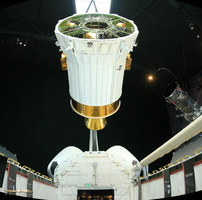 Mockup of Boeing Inertial Upper Stage above NASA STS Full Fuselage Trainer