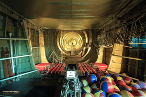Inside Spruce Goose - inner fuselage to the tail. Balloons are there a safety device for buoyancy