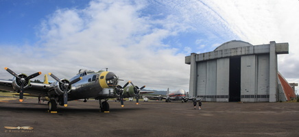 B-17G in front of the blimp hangar