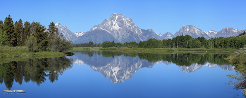 Mount Moran over Oxbow Bend - Click to zoom !