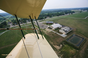 Buzzing the tower at the WACO Museum, Troy airfield