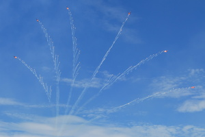Patrouille Suisse final break with flares