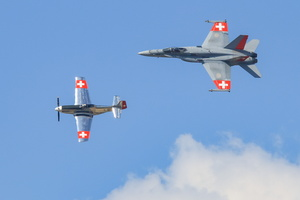 P-51 & F/A-18 Swiss heritage flight