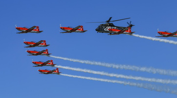 Swiss Air Force PC-7 Team with AS532 Cougar