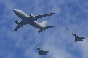Luftwaffe air to air refueling display with A310 MRTT and two Eurofighters