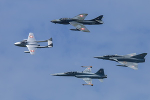 Swiss Air Force classic fighterss : Vampire, Hunter, Tiger, Mirage III RS