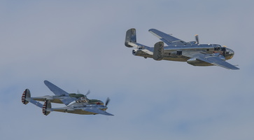 Red Bull's B-25J Mitchell & P-38L Lightning