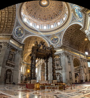 The altar with Bernini's baldacchino below the dome