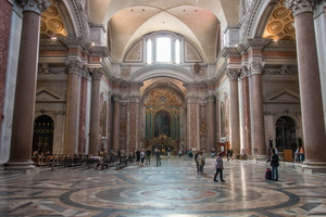 Left transept of Basilica of St. Mary of the Angels and the Martyrs, oculus of the gnomon is on the top right