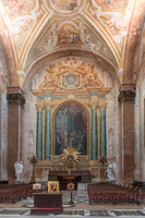 "Left transept of Basilica of St. Mary of the Angels and the Martyrs, oculus of the gnomon is on the top right . ""A miracle of Blessed Niccolò Albergati"" (Graziani)"