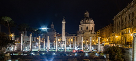 Trajan forum and column by night