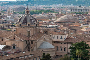Church of the Gesù and Pantheon domes seen from Altare della Patria