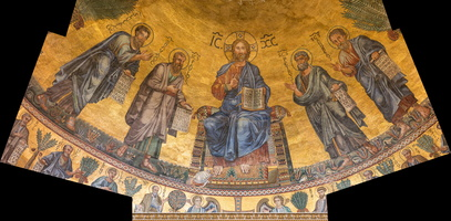 Apse mosaic (1220). Christ flanked by the Apostles Peter, Paul, and Andrew and St. Luke