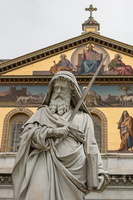 Statue of Saint Paul in front of the facade