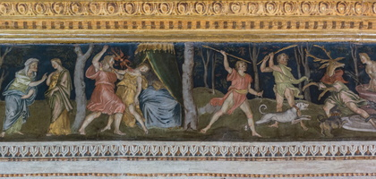 Juno and Semele - Semele consumed by Jupiter's lightning - Diana and Actaeon changed into deers