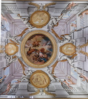 Ceiling of the Sun room - Jupiter strikes Phaeton, unable to steer the sun chariot (Caccianiga, 18th AD)